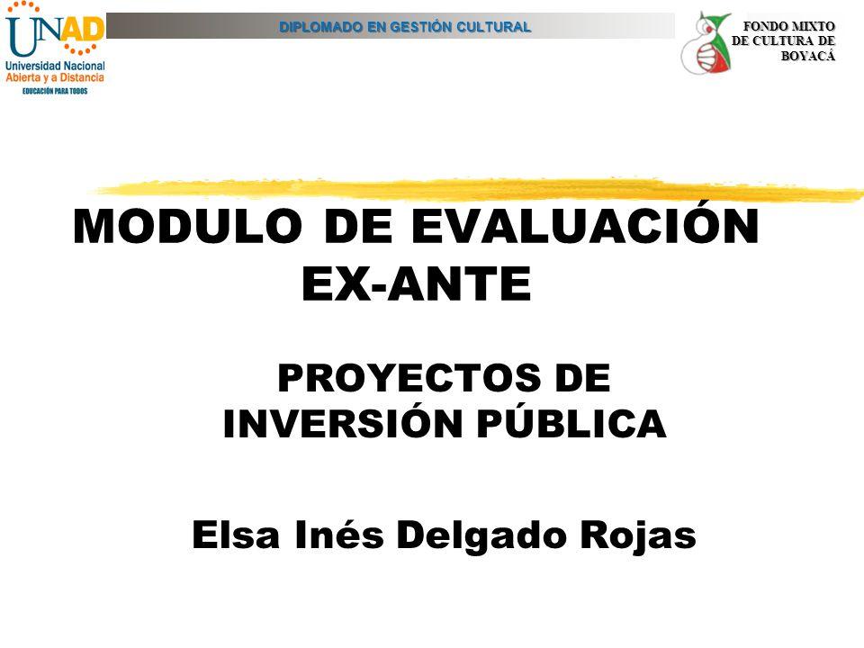 DIPLOMADO EN GESTIÓN CULTURAL FONDO MIXTO DE CULTURA DE BOYACÁ MODULO DE EVALUACIÓN EX-ANTE PROYECTOS DE INVERSIÓN PÚBLICA Elsa Inés Delgado Rojas
