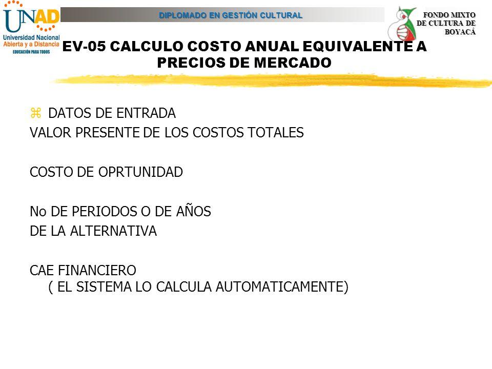 DIPLOMADO EN GESTIÓN CULTURAL FONDO MIXTO DE CULTURA DE BOYACÁ EV-05 CALCULO COSTO ANUAL EQUIVALENTE A PRECIOS DE MERCADO zDATOS DE ENTRADA VALOR PRES