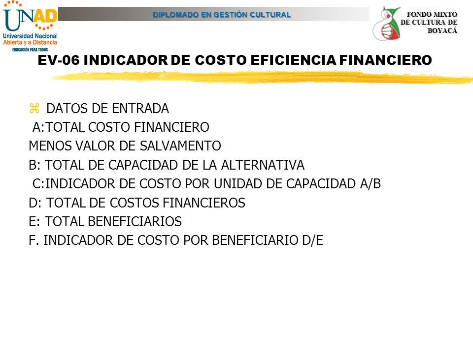 DIPLOMADO EN GESTIÓN CULTURAL FONDO MIXTO DE CULTURA DE BOYACÁ EV-06 INDICADOR DE COSTO EFICIENCIA FINANCIERO zDATOS DE ENTRADA A:TOTAL COSTO FINANCIE