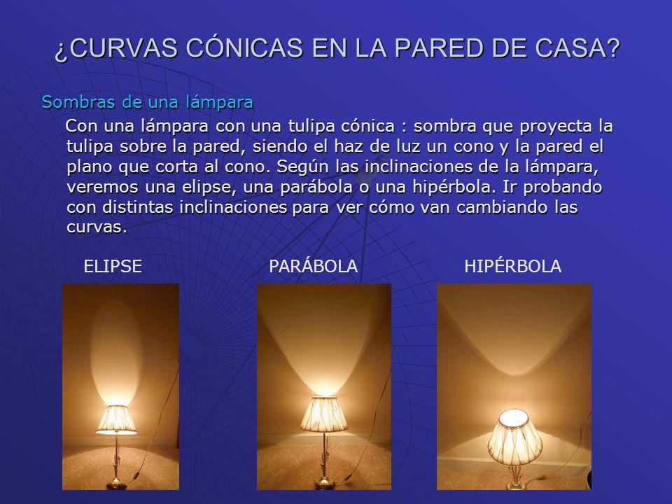¿CURVAS CÓNICAS EN LA PARED DE CASA? Sombras de una lámpara Con una lámpara con una tulipa cónica : sombra que proyecta la tulipa sobre la pared, sien