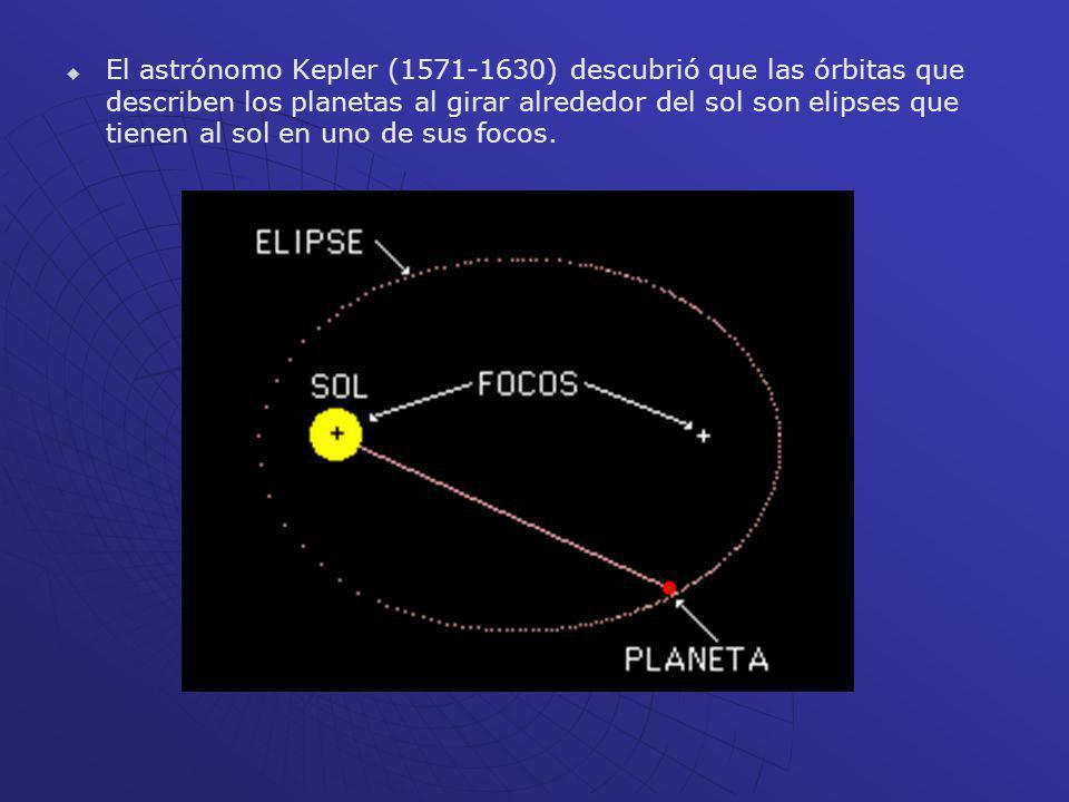 El astrónomo Kepler (1571-1630) descubrió que las órbitas que describen los planetas al girar alrededor del sol son elipses que tienen al sol en uno d