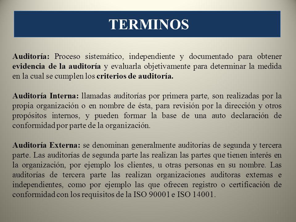 Auditoría Combinada: Cuando se realiza la auditoría conjunta de los sistemas de gestión de la calidad y gestión ambiental.