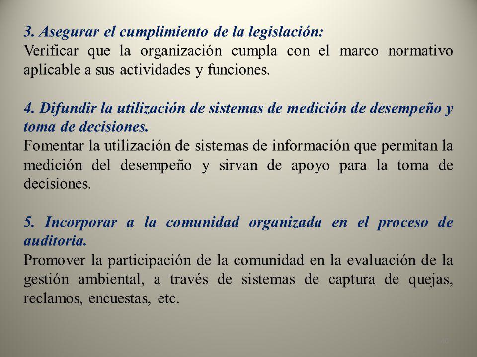 3. Asegurar el cumplimiento de la legislación: Verificar que la organización cumpla con el marco normativo aplicable a sus actividades y funciones. 4.