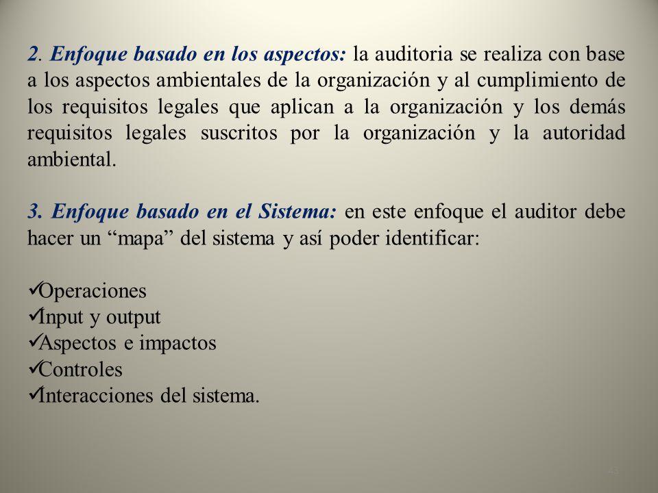 2. Enfoque basado en los aspectos: la auditoria se realiza con base a los aspectos ambientales de la organización y al cumplimiento de los requisitos