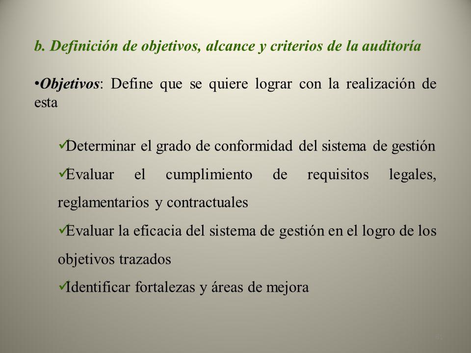 b. Definición de objetivos, alcance y criterios de la auditoría Objetivos: Define que se quiere lograr con la realización de esta Determinar el grado
