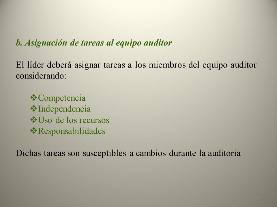 b. Asignación de tareas al equipo auditor El líder deberá asignar tareas a los miembros del equipo auditor considerando: Competencia Independencia Uso