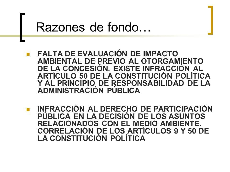 Razones de fondo… FALTA DE EVALUACIÓN DE IMPACTO AMBIENTAL DE PREVIO AL OTORGAMIENTO DE LA CONCESIÓN.