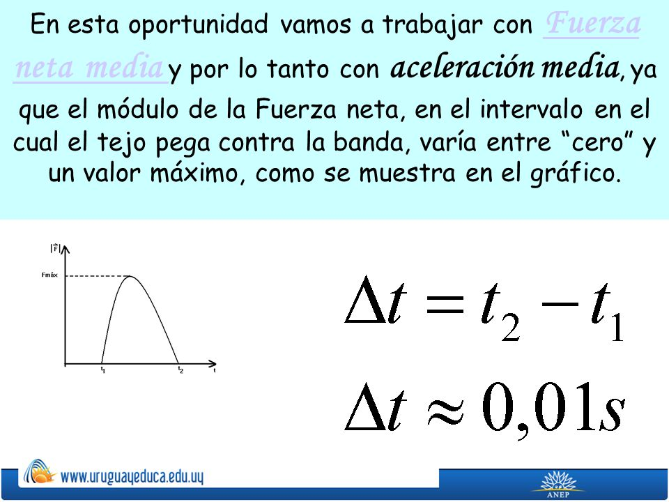 En esta oportunidad vamos a trabajar con Fuerza neta media y por lo tanto con aceleración media, ya que el módulo de la Fuerza neta, en el intervalo en el cual el tejo pega contra la banda, varía entre cero y un valor máximo, como se muestra en el gráfico.