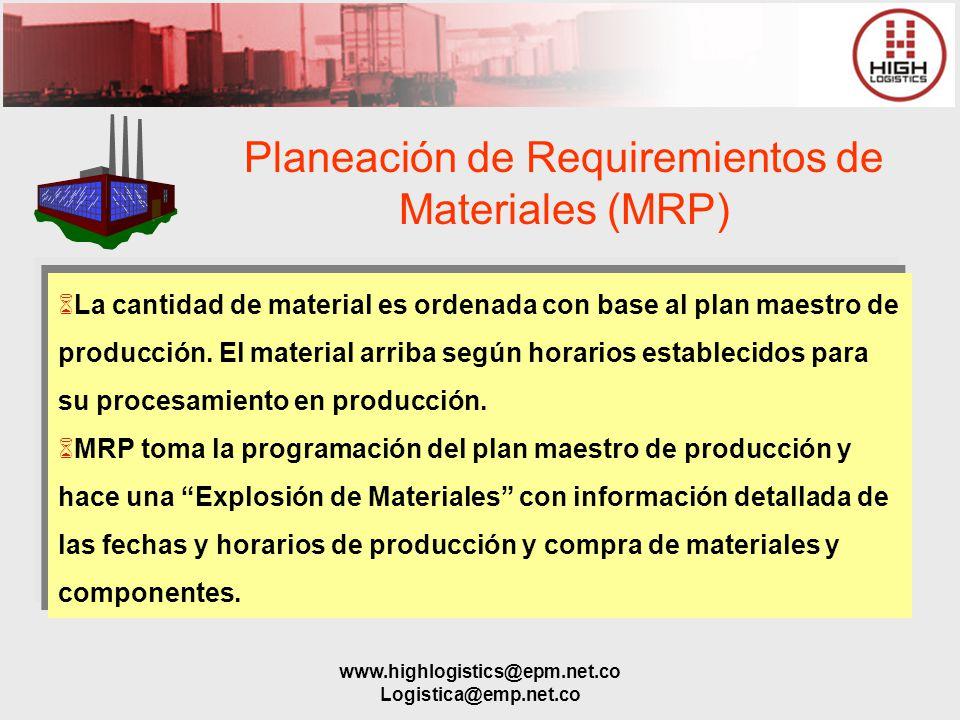 www.highlogistics@epm.net.co Logistica@emp.net.co Planeación de Requiremientos de Materiales (MRP) La cantidad de material es ordenada con base al pla