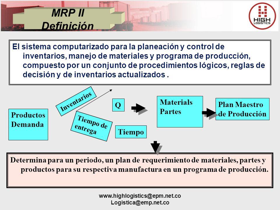 www.highlogistics@epm.net.co Logistica@emp.net.co MRP II Definición El sistema computarizado para la planeación y control de inventarios, manejo de ma