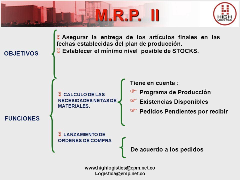 www.highlogistics@epm.net.co Logistica@emp.net.co M.R.P. II Asegurar la entrega de los artículos finales en las fechas establecidas del plan de produc