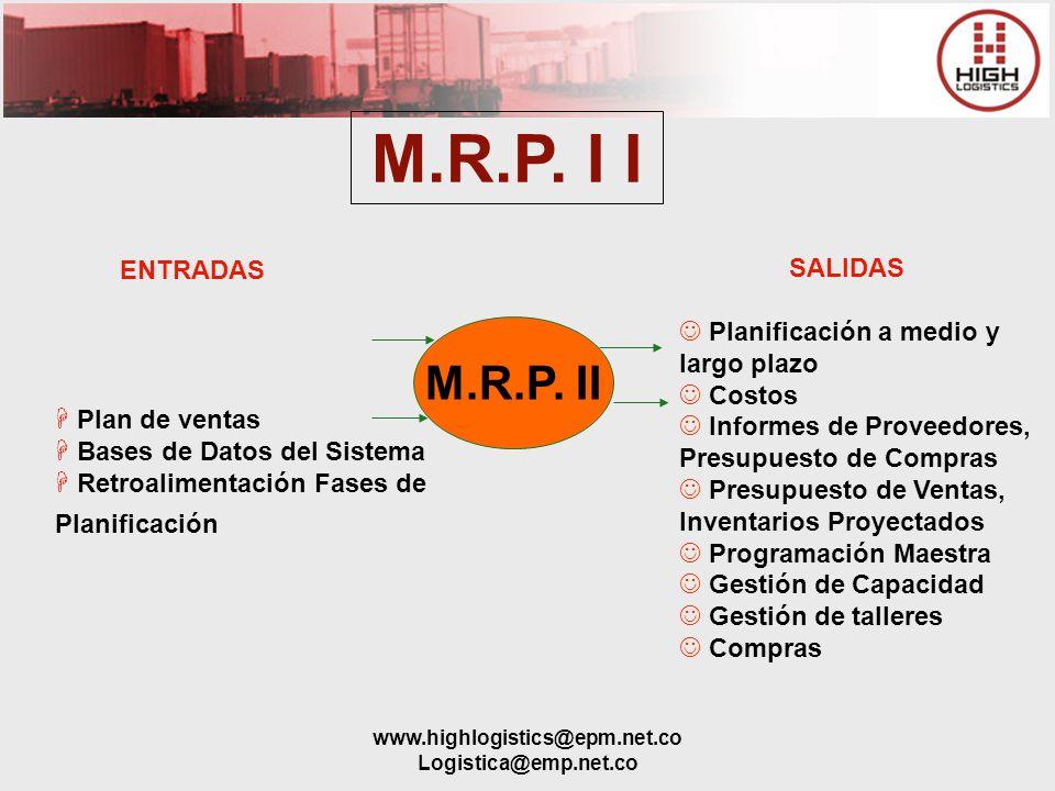 www.highlogistics@epm.net.co Logistica@emp.net.co ENTRADAS H Plan de ventas H Bases de Datos del Sistema H Retroalimentación Fases de Planificación SA