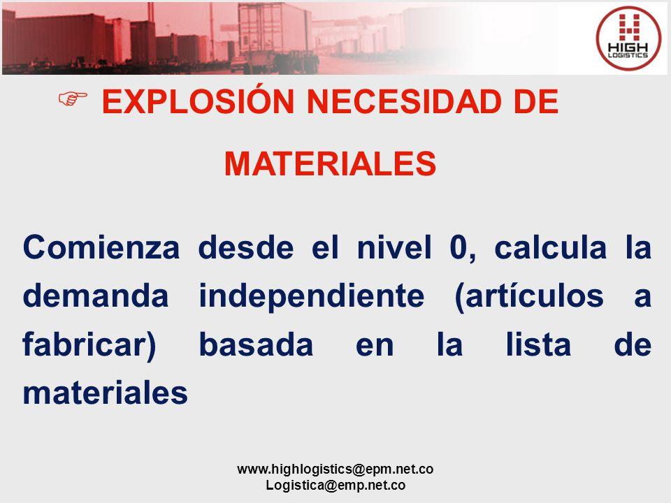 www.highlogistics@epm.net.co Logistica@emp.net.co EXPLOSIÓN NECESIDAD DE MATERIALES Comienza desde el nivel 0, calcula la demanda independiente (artíc