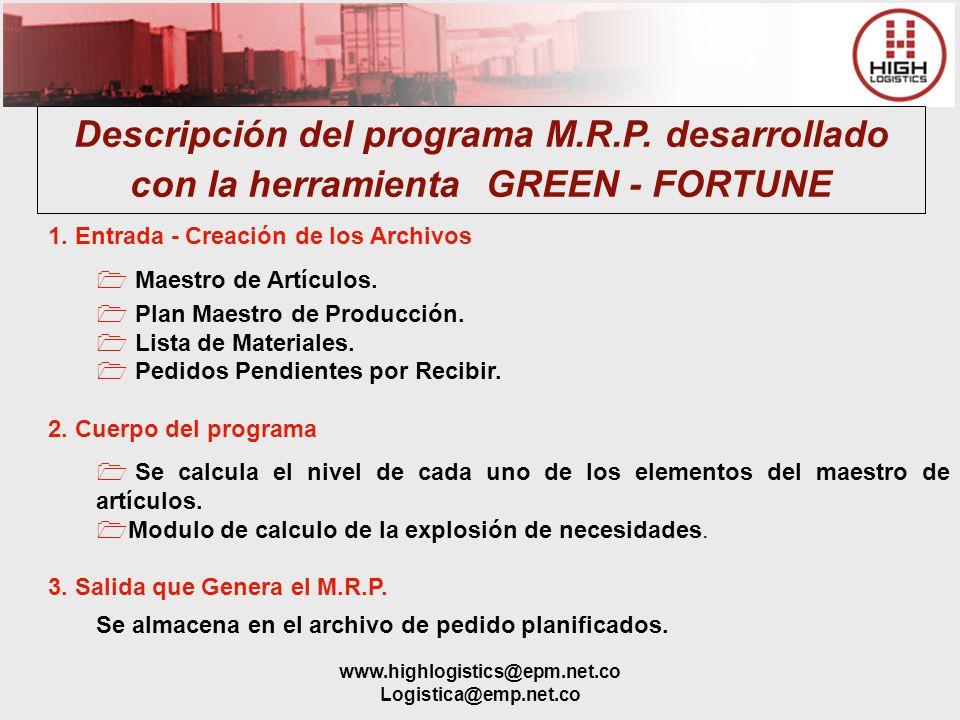 www.highlogistics@epm.net.co Logistica@emp.net.co Descripción del programa M.R.P. desarrollado con la herramienta GREEN - FORTUNE 1. Entrada - Creació