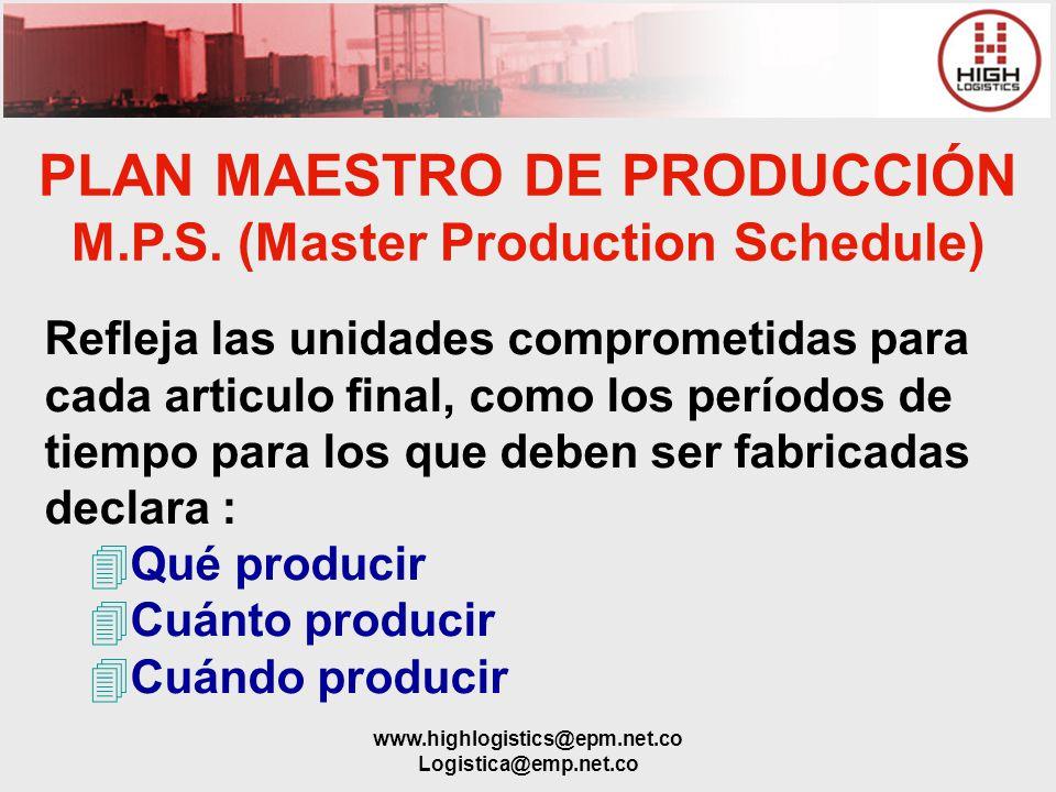 www.highlogistics@epm.net.co Logistica@emp.net.co PLAN MAESTRO DE PRODUCCIÓN M.P.S. (Master Production Schedule) Refleja las unidades comprometidas pa