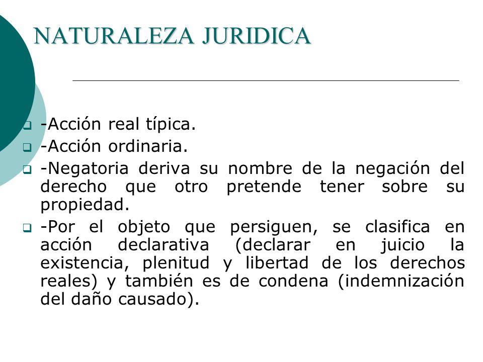 NATURALEZA JURIDICA -Acción real típica.-Acción ordinaria.