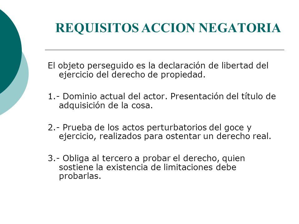REQUISITOS ACCION NEGATORIA El objeto perseguido es la declaración de libertad del ejercicio del derecho de propiedad.