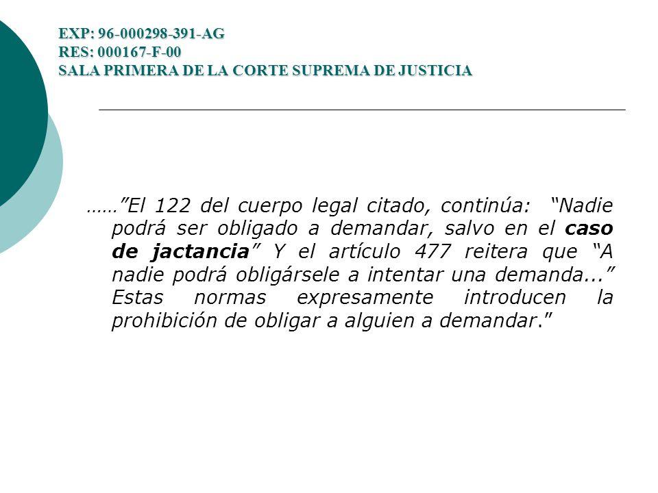 EXP: 96-000298-391-AG RES: 000167-F-00 SALA PRIMERA DE LA CORTE SUPREMA DE JUSTICIA ……El 122 del cuerpo legal citado, continúa: Nadie podrá ser obligado a demandar, salvo en el caso de jactancia Y el artículo 477 reitera que A nadie podrá obligársele a intentar una demanda...
