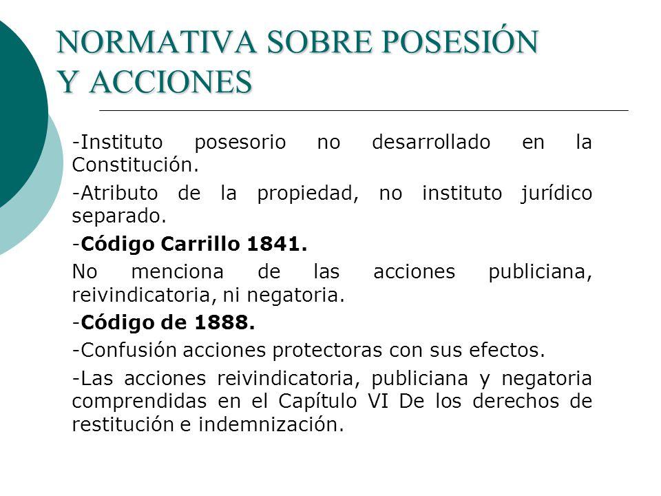 NORMATIVA SOBRE POSESIÓN Y ACCIONES -Instituto posesorio no desarrollado en la Constitución.