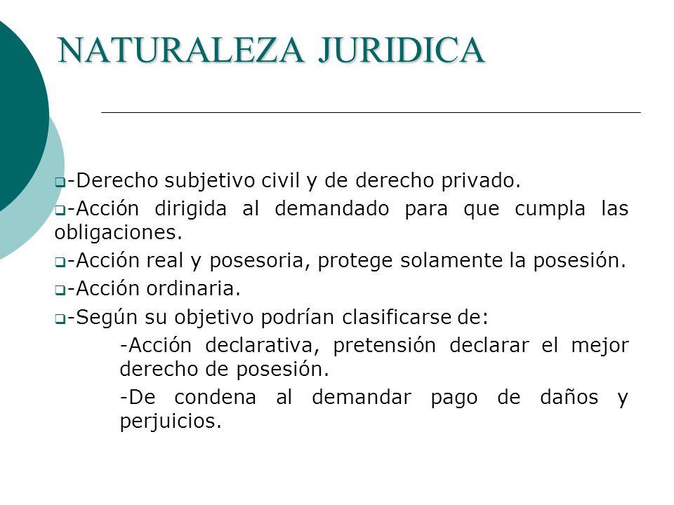 NATURALEZA JURIDICA -Derecho subjetivo civil y de derecho privado.