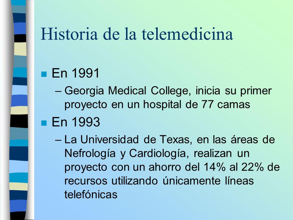 Historia de la telemedicina n En 1991 –Georgia Medical College, inicia su primer proyecto en un hospital de 77 camas n En 1993 –La Universidad de Texa