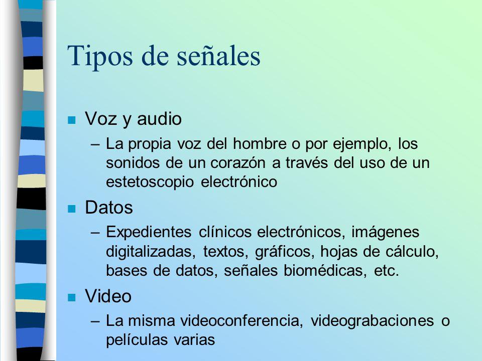 Tipos de señales n Voz y audio –La propia voz del hombre o por ejemplo, los sonidos de un corazón a través del uso de un estetoscopio electrónico n Da