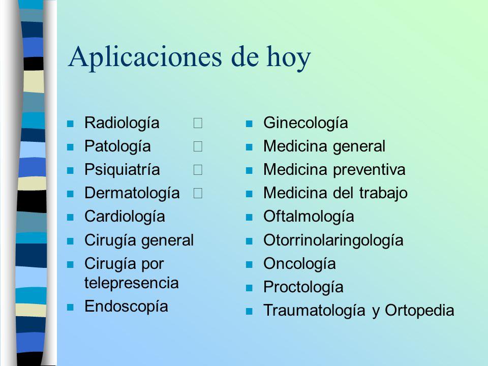 Aplicaciones de hoy Radiología Patología Psiquiatría Dermatología n Cardiología n Cirugía general n Cirugía por telepresencia n Endoscopía n Ginecolog