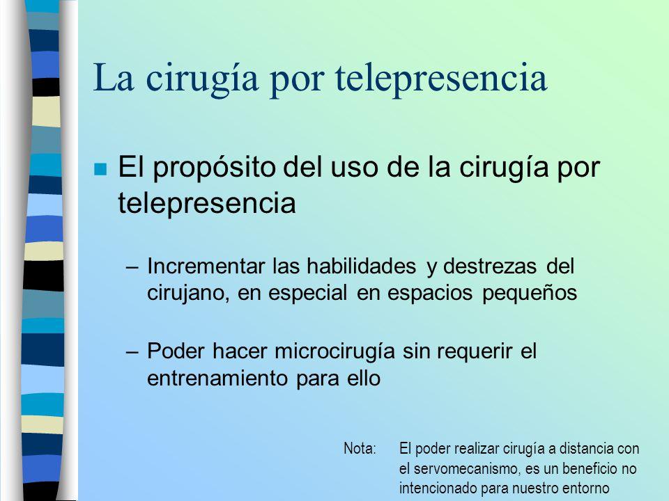 La cirugía por telepresencia n El propósito del uso de la cirugía por telepresencia –Incrementar las habilidades y destrezas del cirujano, en especial