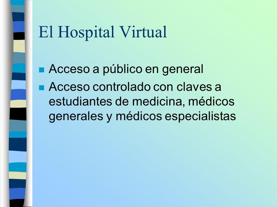 El Hospital Virtual n Acceso a público en general n Acceso controlado con claves a estudiantes de medicina, médicos generales y médicos especialistas