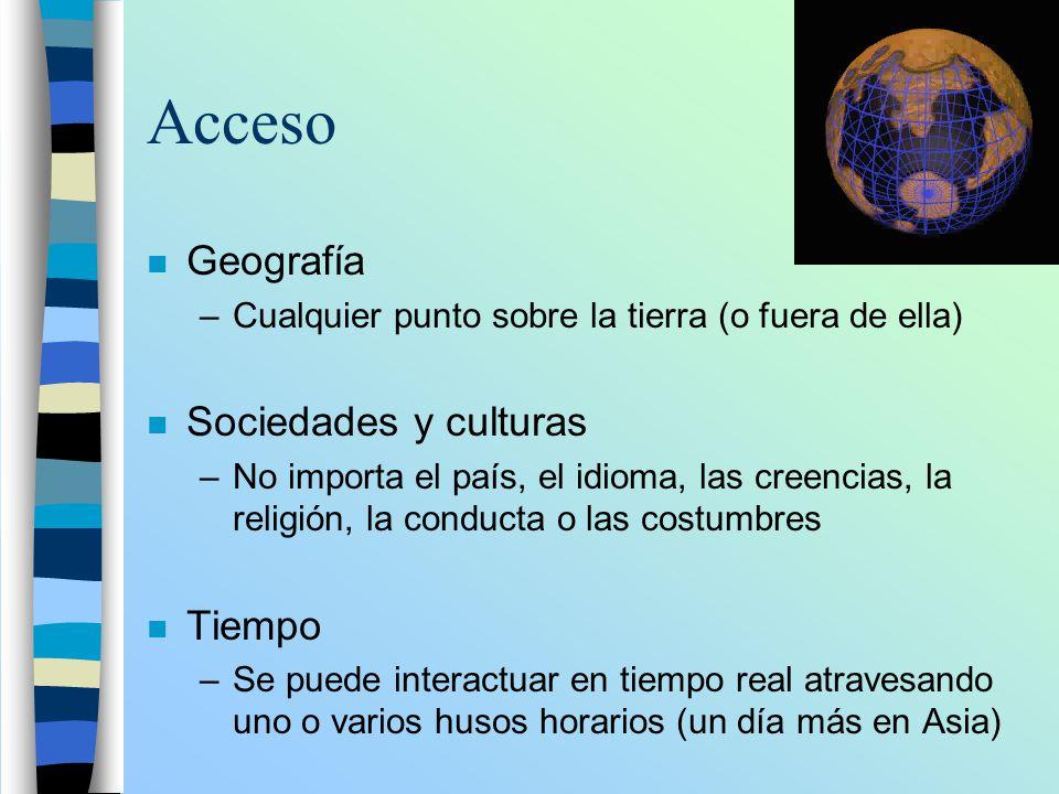 Acceso n Geografía –Cualquier punto sobre la tierra (o fuera de ella) n Sociedades y culturas –No importa el país, el idioma, las creencias, la religi