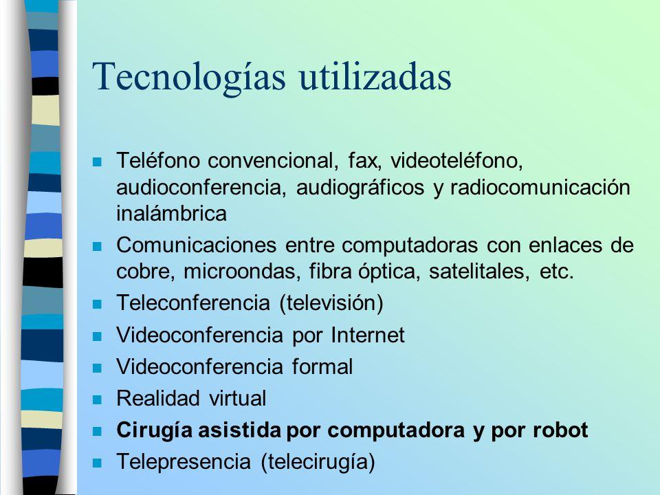 Tecnologías utilizadas n Teléfono convencional, fax, videoteléfono, audioconferencia, audiográficos y radiocomunicación inalámbrica n Comunicaciones e