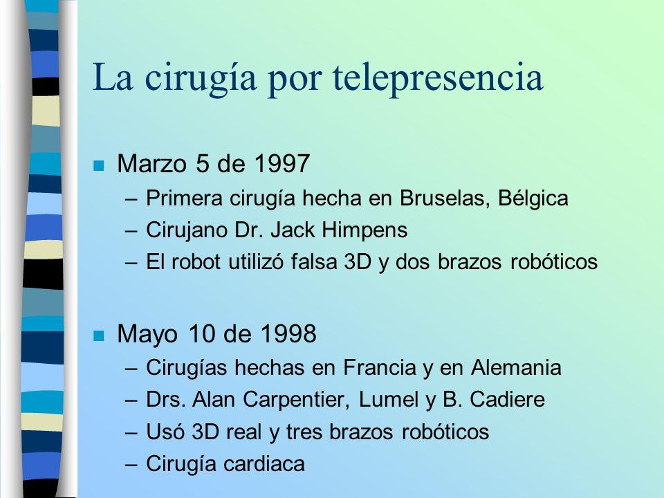La cirugía por telepresencia n Marzo 5 de 1997 –Primera cirugía hecha en Bruselas, Bélgica –Cirujano Dr. Jack Himpens –El robot utilizó falsa 3D y dos