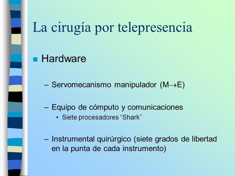 La cirugía por telepresencia n Hardware –Servomecanismo manipulador (M E) –Equipo de cómputo y comunicaciones Siete procesadores Shark –Instrumental q