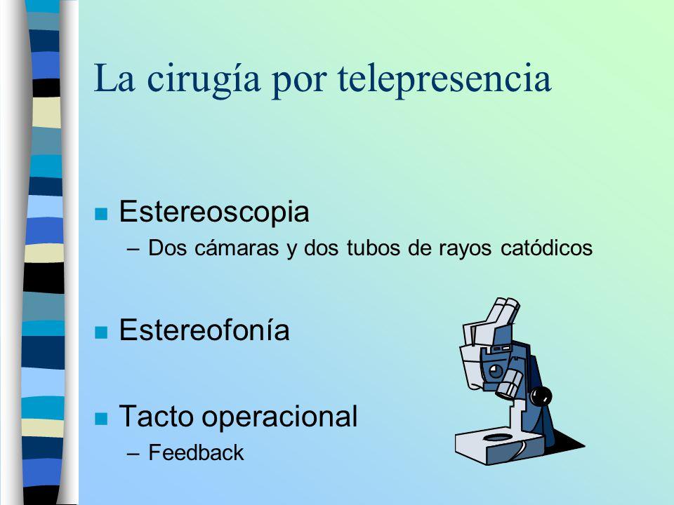 La cirugía por telepresencia n Estereoscopia –Dos cámaras y dos tubos de rayos catódicos n Estereofonía n Tacto operacional –Feedback
