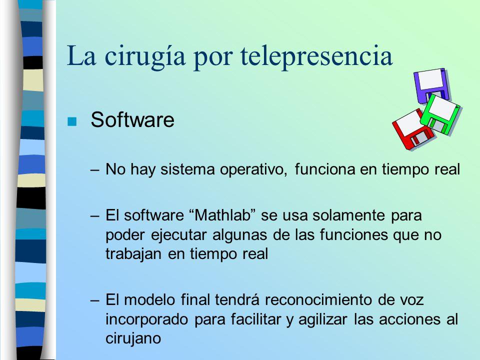 La cirugía por telepresencia n Software –No hay sistema operativo, funciona en tiempo real –El software Mathlab se usa solamente para poder ejecutar a