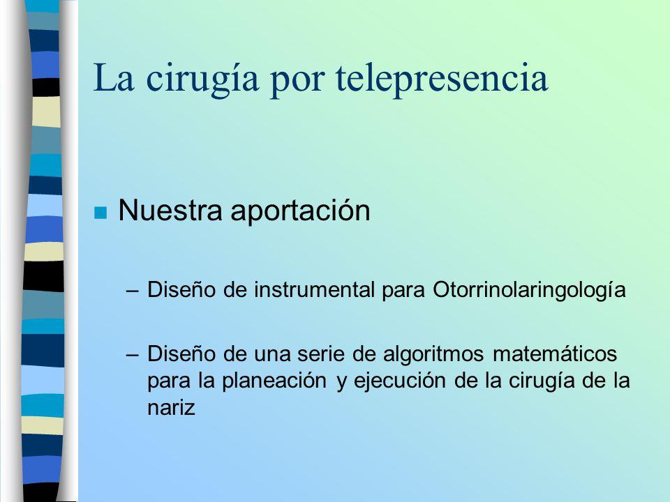 La cirugía por telepresencia n Nuestra aportación –Diseño de instrumental para Otorrinolaringología –Diseño de una serie de algoritmos matemáticos par