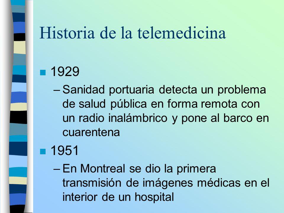 Historia de la telemedicina n 1929 –Sanidad portuaria detecta un problema de salud pública en forma remota con un radio inalámbrico y pone al barco en