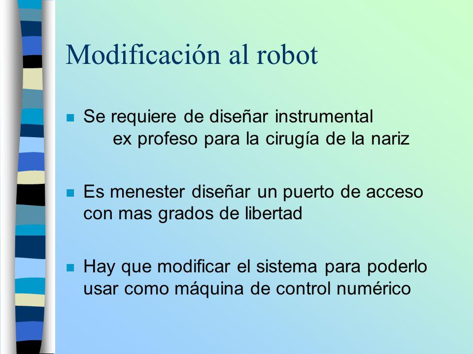 Modificación al robot n Se requiere de diseñar instrumental ex profeso para la cirugía de la nariz n Es menester diseñar un puerto de acceso con mas g
