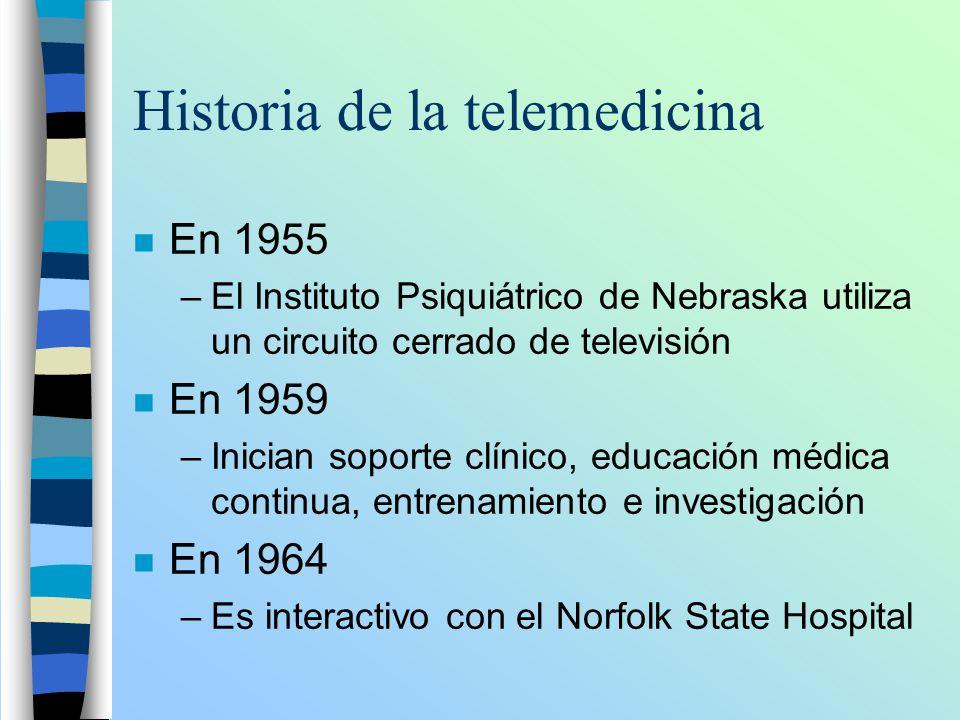 Historia de la telemedicina n En 1955 –El Instituto Psiquiátrico de Nebraska utiliza un circuito cerrado de televisión n En 1959 –Inician soporte clín
