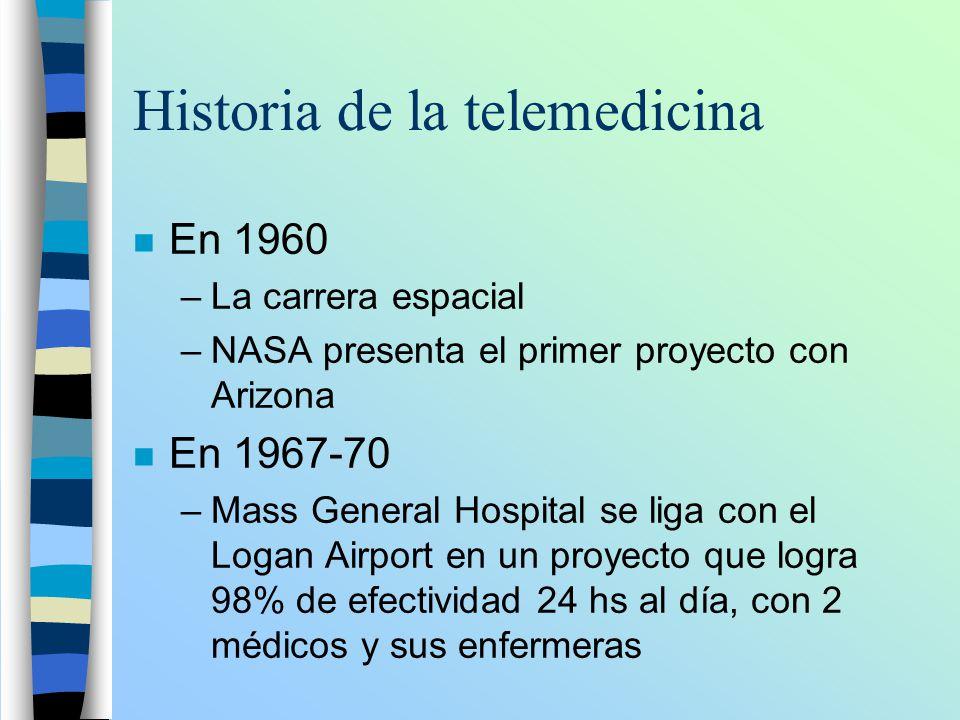 Historia de la telemedicina n En 1960 –La carrera espacial –NASA presenta el primer proyecto con Arizona n En 1967-70 –Mass General Hospital se liga c