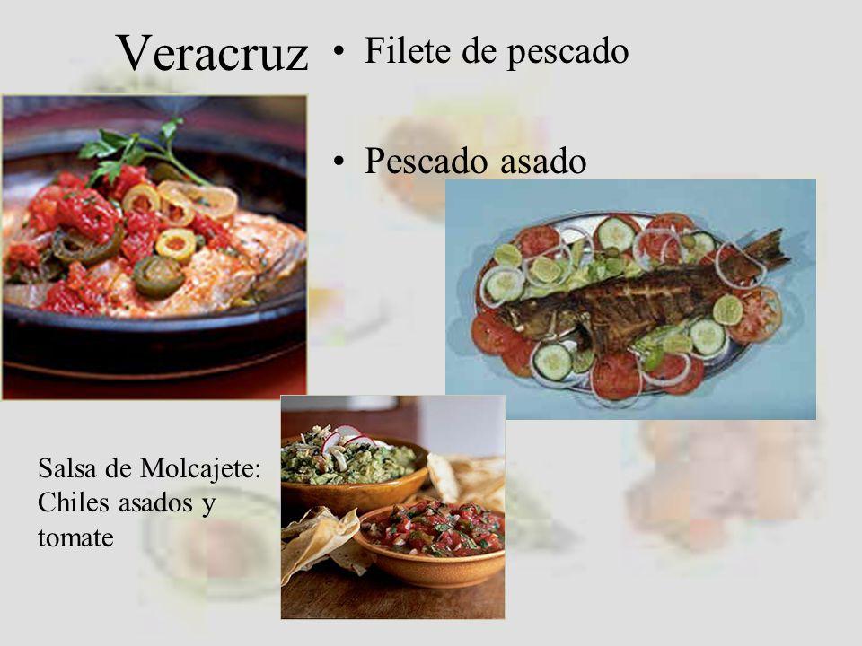 Veracruz Filete de pescado Pescado asado Salsa de Molcajete: Chiles asados y tomate