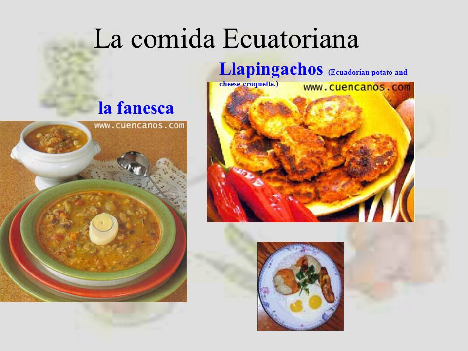 La comida Ecuatoriana la fanesca Llapingachos (Ecuadorian potato and cheese croquette.)
