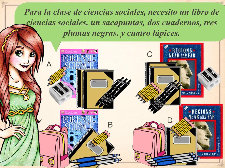En mi lista hay dos libros en español, un diccionario, tres carpetas verdes, cuatro lápices, y un bolígrafo negro.
