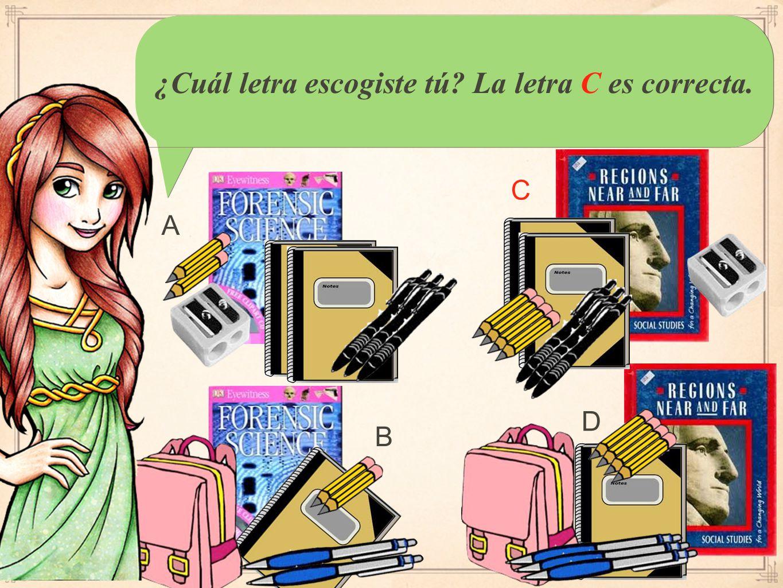 You should have written: Coral necesita un libro en español, un lápiz, y una carpeta verde.