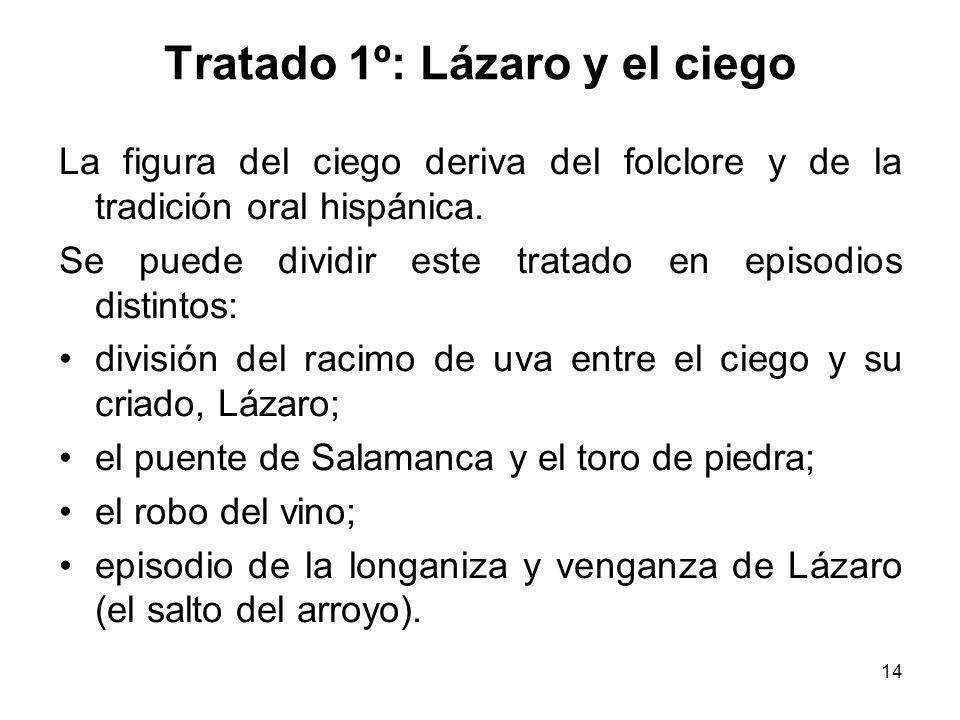 14 Tratado 1º: Lázaro y el ciego La figura del ciego deriva del folclore y de la tradición oral hispánica. Se puede dividir este tratado en episodios