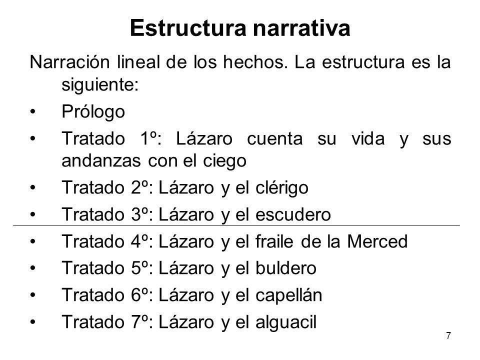 7 Estructura narrativa Narración lineal de los hechos. La estructura es la siguiente: Prólogo Tratado 1º: Lázaro cuenta su vida y sus andanzas con el