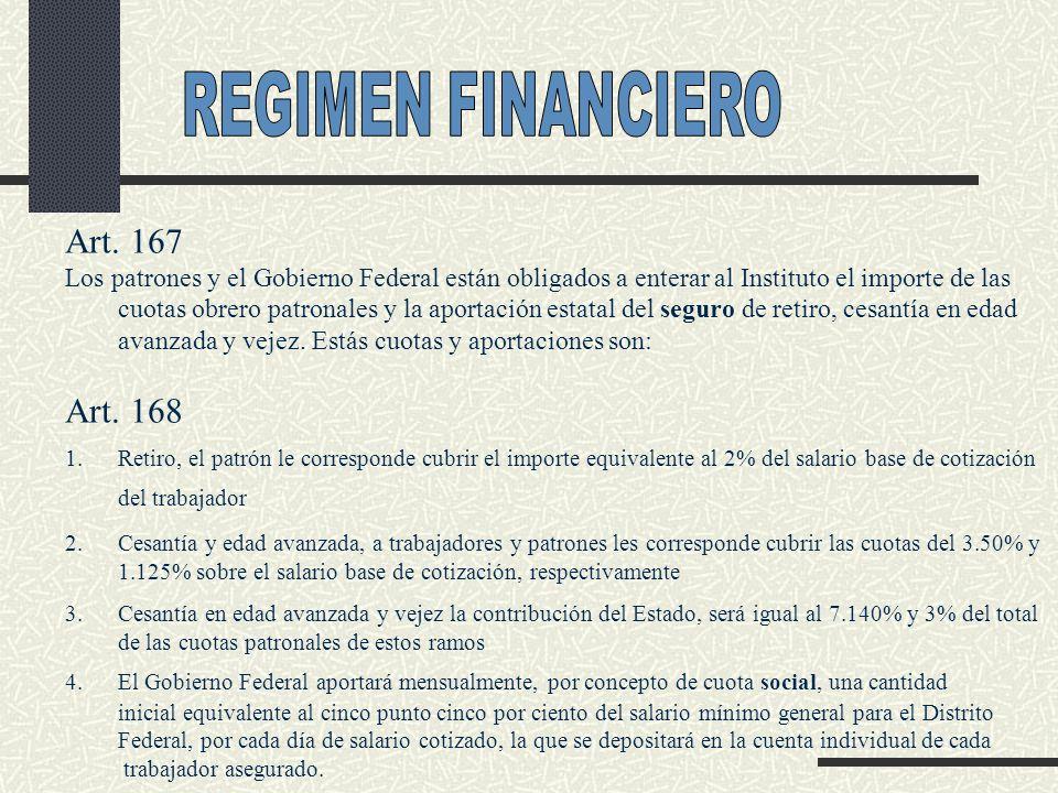 Art. 167 Los patrones y el Gobierno Federal están obligados a enterar al Instituto el importe de las cuotas obrero patronales y la aportación estatal