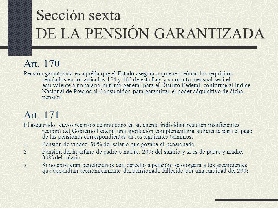 Sección sexta DE LA PENSIÓN GARANTIZADA Art. 170 Pensión garantizada es aquélla que el Estado asegura a quienes reúnan los requisitos señalados en los