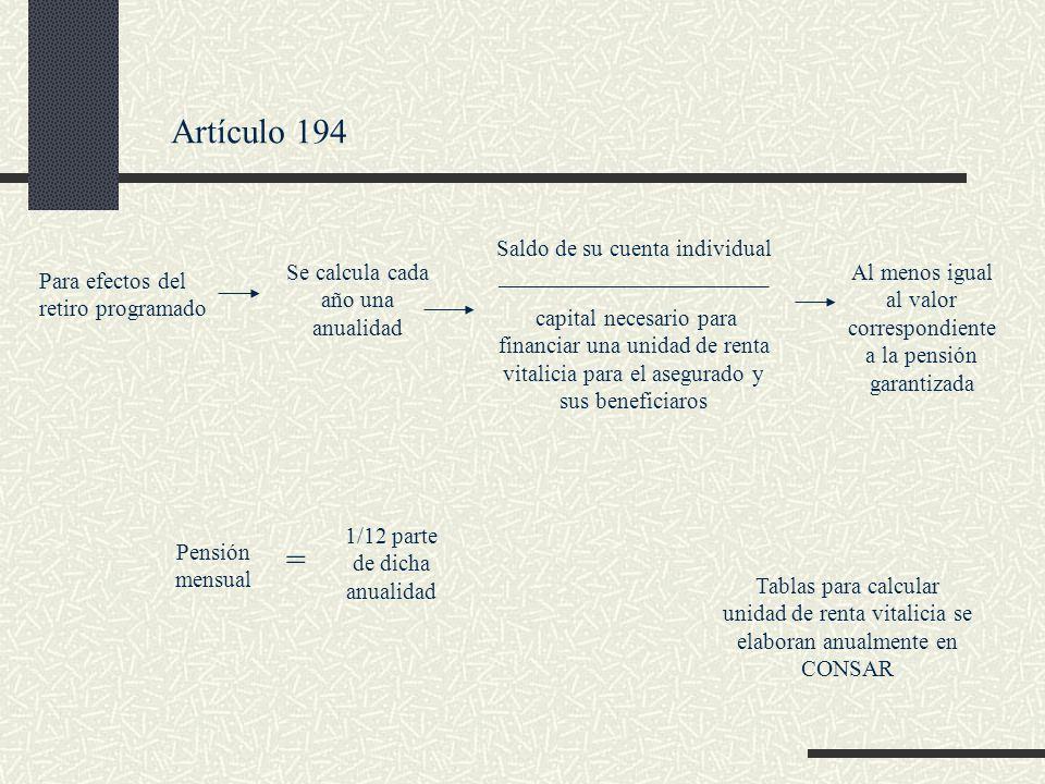 Artículo 194 Para efectos del retiro programado Se calcula cada año una anualidad Saldo de su cuenta individual _______________________ capital necesa