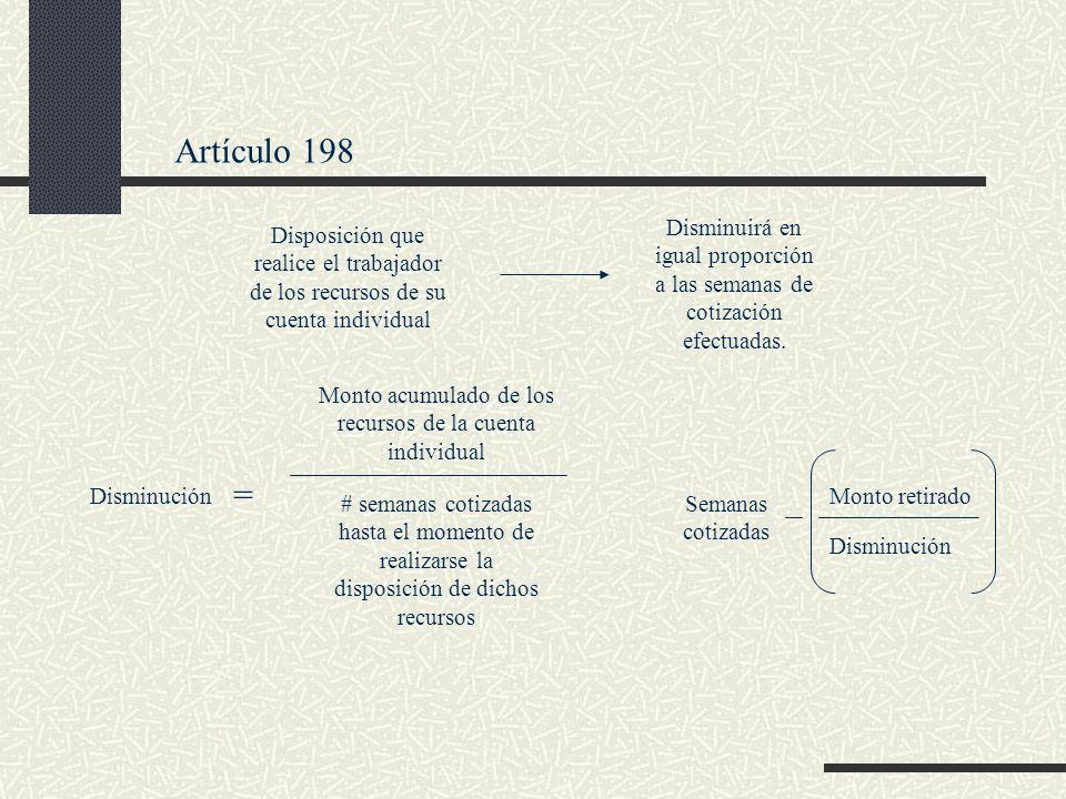 Artículo 198 Disposición que realice el trabajador de los recursos de su cuenta individual Disminuirá en igual proporción a las semanas de cotización